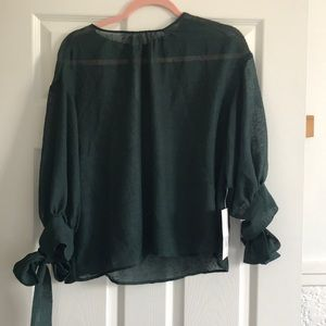 NWT Zara sheer green balloon sleeves top